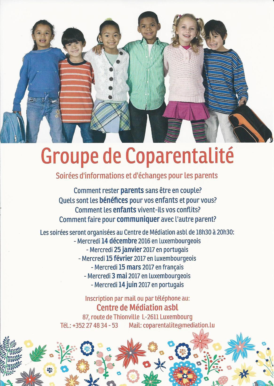 GROUPE DE COPARENTALITÉ – mercredi 15/11/2017 de 18h30 à +/-20h45 – langue : LUX